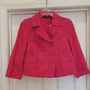 INC Jacket Size L Pink Double Breasted Crop